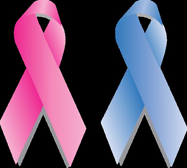 乳がんに負けないリボンピンクとブルー